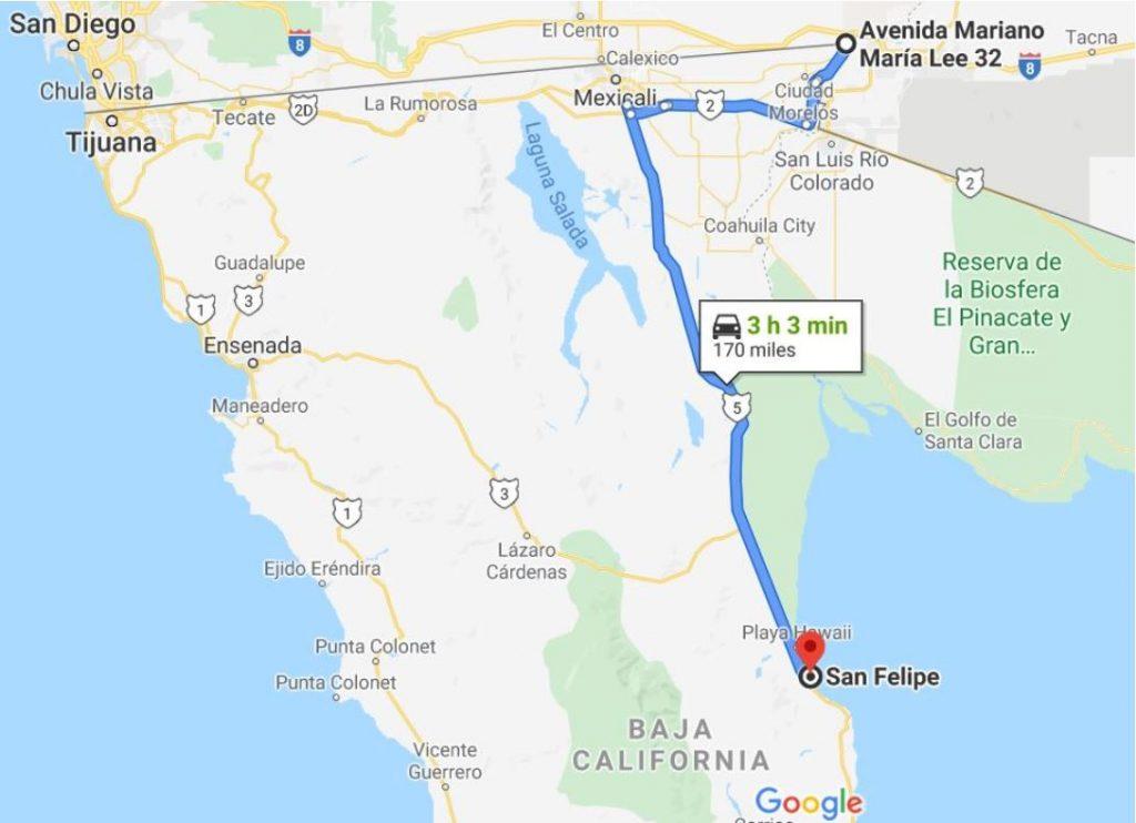 Route Map Los Algodones to San Felipe